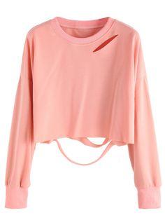 Pink Drop Shoulder Cut Out Crop T-shirt Mobile Site