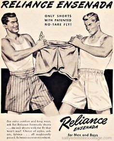 Modern boxer shorts take the leg length of boxers but add the fit of briefs. Thus the modern boxer; Mode Masculine, Vintage Advertisements, Vintage Ads, Vintage Newspaper, Vintage Style, Vintage Underwear, Men's Underwear, Men's Undies, Only Shorts