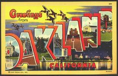 California 1943 Large Letter Greetings From Oakland Vintage Postcard