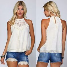 BOHO GYPSY 70's Ladies Crochet Lace Flowy Woven High Neck Halter Top Natural S-L #Listicle #Halter #SummerBeach