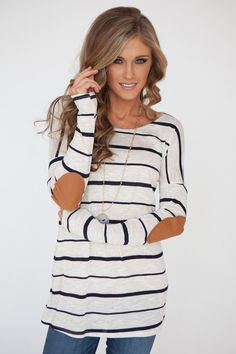 Long Sleeve Elbow Patch Striped Oatmeal