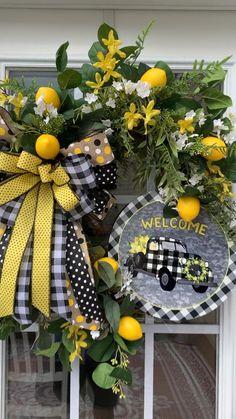 Wreaths, floral arrangements, ribbon, etc. Diy Fall Wreath, Wreath Crafts, Summer Wreath, Holiday Wreaths, Wreath Bows, Fall Mesh Wreaths, Thanksgiving Wreaths, Lemon Wreath, Sunflower Wreaths