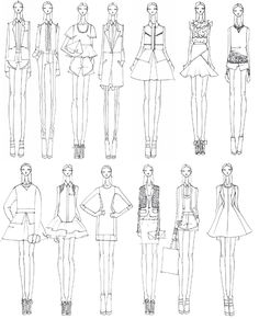 Fashion Sketchbook - fashion design illustrations, collection development - initial lineup // Prabal Gurung