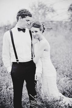 The Groom's suspenders are the icing on the cake of this wedding picture.. Support SIBTEMBER!