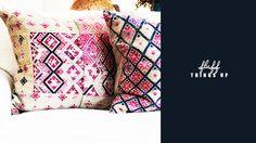 Custom throw pillows from Brenda Antin Antiques.