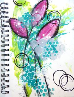 Taking a lesson from Dina Wakley's Art Journal Courage book and putting fear aside to draw simple shapes in my art journal using paints and stencils.