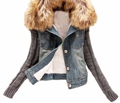 2015 New women's Autumn Denim Jacket Women winter Coat slim yarn large fur collar lamb cotton denim outerwear jeans 4XL