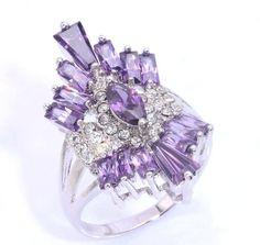 Hot Amethyst & Zircon Women Fashion Jewelry Gemstone Silver Ring Size 10 NJ7911 #Handmade #Ring