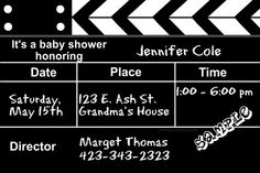 Movie Clapper Baby Shower Invitations  -  Get these invitations RIGHT NOW. Design yourself online, download and print IMMEDIATELY! Or choose my printing services. No software download is required. Free to try!