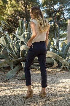 Pantalon CÉLESTE  #terreetmer #été #cassis Armor Lux, Silhouette, Black Jeans, Collection, Pants, Fashion, Trouser Pants, Moda, Fashion Styles
