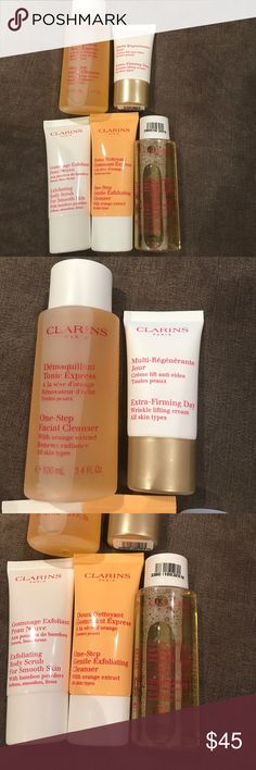 Clarins 5 piece beauty bundle Poshers!!  All my items are 100 percent authentic!  Feel free to make an offer and don't forget to bundle for more savings!!  Feel free to ask any questions and happy shopping. Oh and ps free gift with any purchase! clarins Makeup