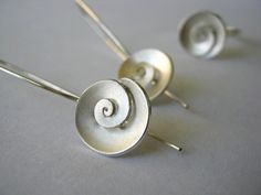 Nautilus - dangle Earrings - Sterling silver - small. $90.00, via Etsy.