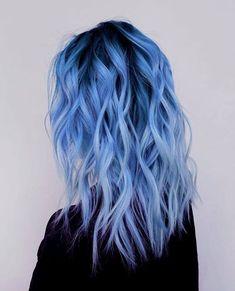 Fantasy colors hair dye colors, 2019 dyed hair, hair ve hair Blue Ombre Hair, Hair Color Purple, Hair Dye Colors, Dyed Hair Blue, Light Blue Hair, Periwinkle Hair, Dyed Hair Pastel, Blue Hair Balayage, Denim Blue Hair