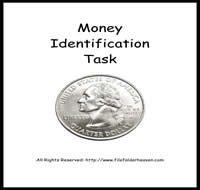 Money Identification Autism Task   file folder games