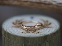 Antler Style Wedding Band. Handcrafted by Staghead Designs.