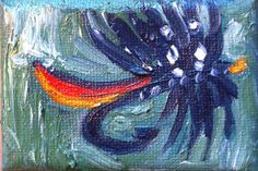 """Original ABSTRACT, Oil on Canvas, """"Fishing Lure 3"""", blue, red, green, Modern art Oil Painting http://www.etsy.com/shop/EKBrownArt"""
