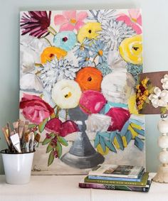 The colorful flowers she paints are inspired by what grows right outside her backdoor.