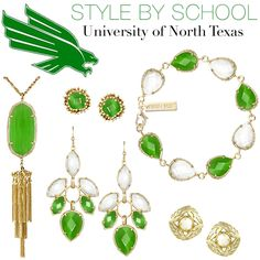 old kendra scott pieces University Of North Texas, Gold Color Scheme, Fashion Accessories, Fashion Jewelry, Party Dress Outfits, Mean Green, Grad Gifts, School Spirit, College Outfits