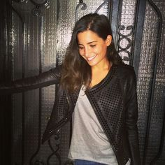 The beautiful and super talented Parisian designer Nour Hammour wearing her own classic black Erin jacket - her latest collection on Popmap! https://popmap.com/page/shop/232/nour-hammour #leather #jacket #style #beauty