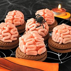 Halloween Party Food Ideas - Panna Cotta Brain Cookies using a mould