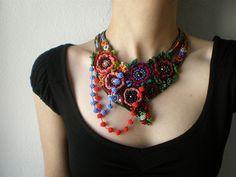 Ranunculus Acris ... Freeform Beaded Crochet Necklace by irregular expressions, via Flickr