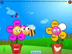 1/31 (One day only sale) - Phonics Rhyme Sorting Free is a fun app for learning to recognize rhyming words, and sort them by sound. A bee carries a heart with a word on it, and your child selects which of two flower pots has a word that rhymes. The bee then carries the heart to the flower, and if correct, a new petal is added to the flower. After each group of rhyming words is completed, the animated flower will review the words.