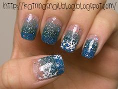 Katrina's Nail Blog: Blue Gradient + Snowflakes