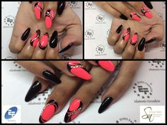 Nail Art by Stella Nails di Alice Conventi...prodotti Linea EF Euro Fashion: Decoro con Paint Gel Black n°6 & Paint Gel Corallo fluo n°3