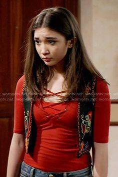 Riley's red lace-up top on Girl Meets World.  Outfit Details: https://wornontv.net/58299/ #GirlMeetsWorld