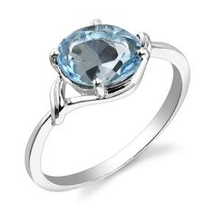 2.25 carats Oval Cut Swiss Blue Topaz Ring in Sterling Silver Rhodium Nickel Finish size 6 Peora