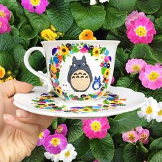 """Reality is for those that lack imagination ☔️✨ Hayao Miyazaki """"My Neighbour Totoro' teacup set, handmade by The Quirky Cup Collective ☕️"""