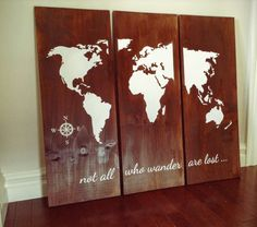 Wood sign - World Map, 3 Panel Sign, Not All Who Wander Are Lost, Housewarming Gift, Traveler gift, Birthday Gift, Anniversary Gift