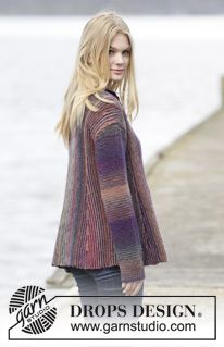 """Knitted DROPS jacket in garter st with pleats and shawl collar, worked sideways in """"Delight"""". Size: S - XXXL. ~ DROPS Design"""