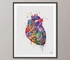 Heart Anatomy Watercolor Art Print Lovewins Wedding by CocoMilla