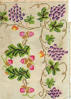 This Pin was discovered by Geo Cross Stitch Fruit, Cross Stitch Cards, Cross Stitch Borders, Cross Stitch Flowers, Cross Stitch Designs, Cross Stitch Patterns, Needlepoint Patterns, Embroidery Patterns Free, Towel Embroidery