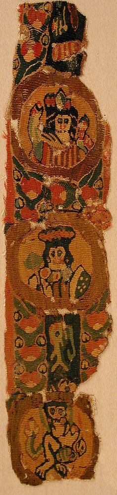 Date:      6th–8th century  Culture:      Byzantine  Medium:      Wool  Dimensions:      11 3/4 x 2 5/8 in. (29.9 x 6.6 cm)  Classification:      Textiles-Woven  Credit Line:      Gift of Nanette B. Kelekian, in honor of Nobuko Kajitani, 2002  Accession Number:      2002.239.2