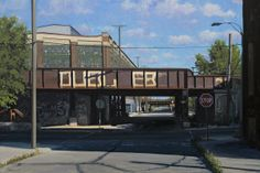 Into the Shadows - This urban landscape painting by Stephen Magsig is a view of shadows and tags on a RR Bridge in Detroit. #Detroit