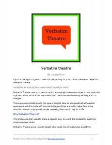 Classroom Exercise: Verbatim Theatre - The Theatrefolk Weblog