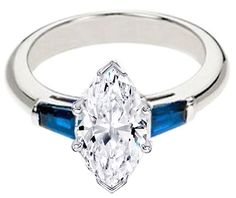 Marquise Diamond Engagement Ring with Blue Sapphire tapered baguette side stones - ES348MQBS