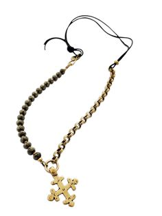 """N-A02 - Moroccan Coptic cross, pyrite beads, leather, brass chain, bronze clasp - Devotion & Courage - 18"""""""