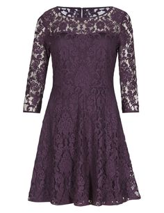 This relaxed skater dress has a playful edge. 3/4 length sleeves work to discreetly flatter your look.
