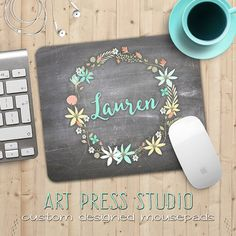 Personalized Name on Chalkboard Mouse Pad Chalk by ArtPressStudio