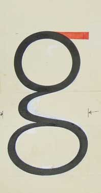 Drawing of sans serif lower-case g by Tschichold