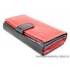 Kožená dámská barevná peněženka z pravé lakované kůže. Pierre Cardin, Money Clip, Continental Wallet, Money Clips