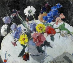 Flowers on a White Table by Anne Redpath (Scottish 1895-1965) Oil on board 20 x 24 ins