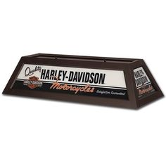 This Harley-Davidson Motorcycles Billiards Lamp Brown is a great overhead ceiling lamp for a biker bar or game room pool table. Solid ash hardwood frame with acrylic panels.