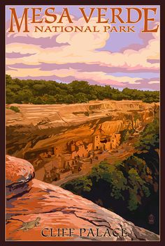Mesa Verde National Park, Colorado - Cliff Palace at Sunset (Art Prints available in multiple sizes) by NightingaleArtwork on Etsy https://www.etsy.com/listing/241470865/mesa-verde-national-park-colorado-cliff