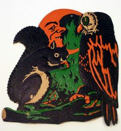 1933 Beistle 'Squirrel And Owl' Embossed Die Cut Decoration. One of 12 Designs. Size: 9 1/2""
