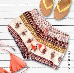 ..just add sunshine!  Cute as - 'amani' summer block print shorts with tassel tie in neon spice..found! www.foundling.com.au