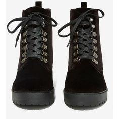 T.U.K. Harper Lace-Up Velvet Boot ($85) ❤ liked on Polyvore featuring shoes, boots, laced boots, platform shoes, black platform boots, lined boots and lace up boots